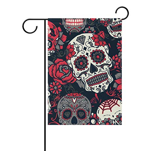 HUVATT Spooky Happy Halloween Skull Red Roses Garden Yard Flag Banner for Outside House Flower Pot Double Side Print 12 x 18 inch -