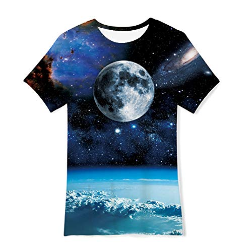 Funnycokid Kids Summer Top T-Shirts Galaxy Planet Short Sleeve Shirt Beach Camp Clothes 10-12 Years Old