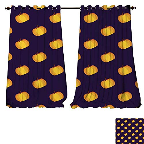 DESPKON-HOME Blackout Grommet Curtains Purple Yellow Holiday Seamless Halloween Pattern 3 Layers High Density - Noise Reduction Fabric-W72 x -