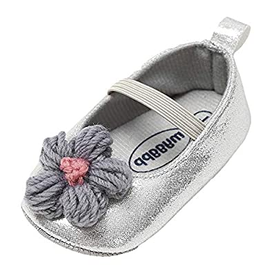 NUWFOR Baby Girl Leather Flower Shoes Keep Warm Fashion Toddler First Walkers Kid Shoe White