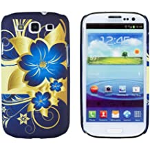 Blue Flower Embossed Slim Fit Hard Case for Samsung Galaxy S3 (AT&T, T-Mobile, Sprint, Verizon, US Cellular, International) [Retail Packaging by DandyCase with FREE Keychain LCD Screen Cleaner]