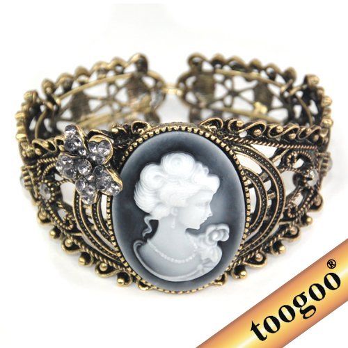 TOOGOO(R) Vintage Hollow Out Queen Statue Carving Bangle Cuff Cameo Bracelet