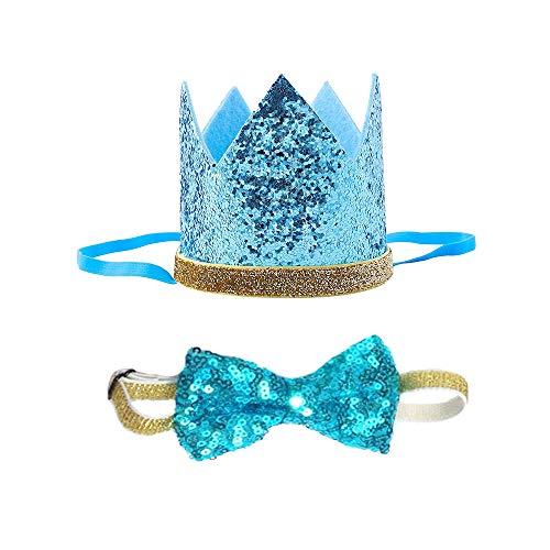 Petsidea Cute Pet Birthday Crown Hat Bow tie Collar Set Dog Cat Birthday Party Supplies (Sky ()