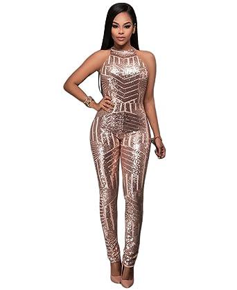 styles classiques acheter Vente au rabais 2019 YOUJIA Femmes Combinaison Dos Nu Jumpsuit Halter Paillettes ...