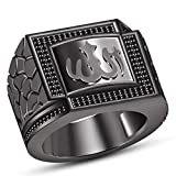 TVS-JEWELS 925 Sterling silver Full Black Rhodium Plated Black CZ Muslim Allah Ring For Men's (7.5)