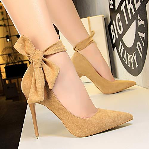 Yukun Schuhe mit hohen hohen hohen Absätzen Schnürschuhe Strap Nightclub 10Cm Bow Schwarz Spitze High Heels Damen Stiletto 10a453