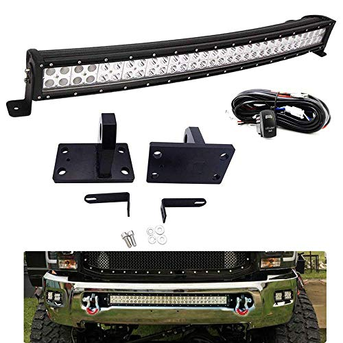 "DaSen Front Bumper Grille 32"" 180W Curved LED Light Bar Mount Brackets Kit w/Heavy Duty Tow Hooks & Wiring Harness For 2010-2018 RAM 2500/3500/4500 4th Gen"