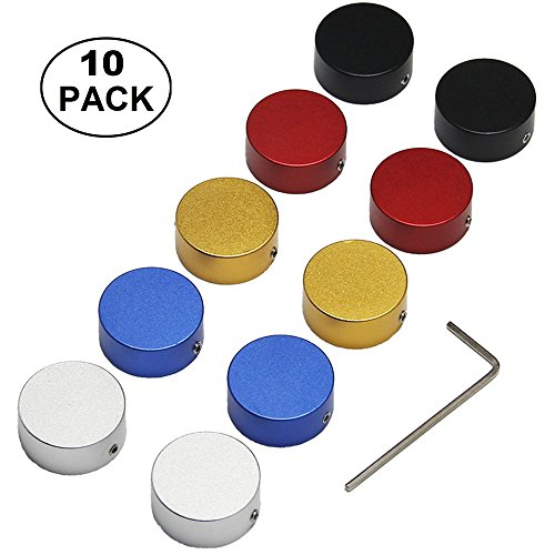 10Pcs Guitar Pedal Footswitch Topper with Rubber Sleeve Nice and Make Stomp Easier (five colors) by SOLUTEK