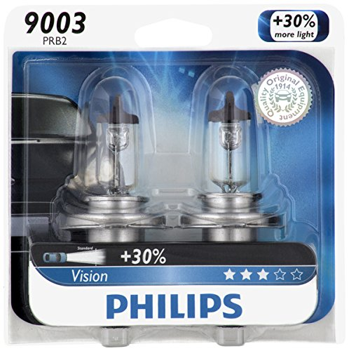 Philips 9003 Vision Upgrade Headlight Bulb, 2 Pack (Car Headlamp Bulbs)