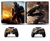 Cosines PS4 Slim Stickers Vinyl Decal Protective Console Skins Cover for Sony Playstation 4 Slim and 2 Controllers Halo Military Science Fiction