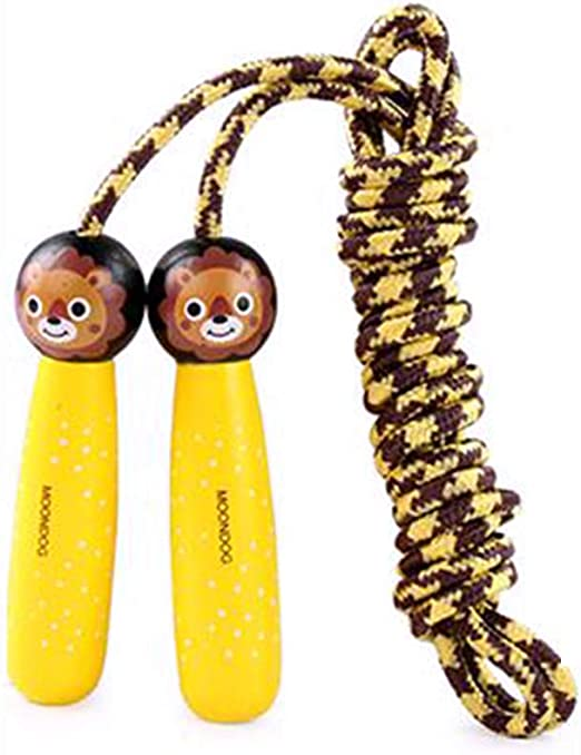 Amazon Com Shineweb Cartoon Animal Adjustable Skipping Jump Rope With Wooden Handle Exercise Tool For Exercise Fitness Adjustable Jumping Rope Workout Lion Home Kitchen