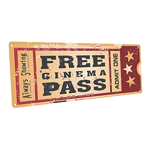 Home Cinema Metal Sign, Ticket to the Movie, Media Room, Family Room, Bar, Den Decor by OMSC