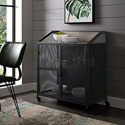 Merveilleux Industrial Bar Cabinet With Mesh   33 Inch