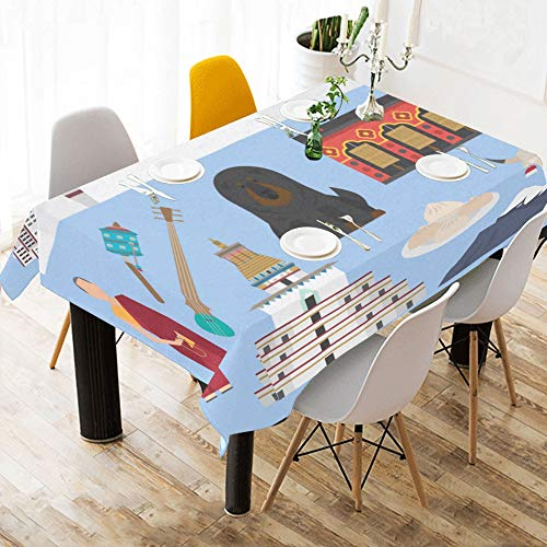 emple Building Design Cotton Print Table Linens Cloth Cover Tablecloth for Kitchen Dining Room Decor 60x84 Inch Square Table Cover ()