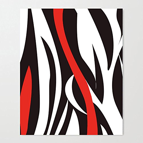 DKISEE Wavy Zebra Pattern Black White and Red Art Print on Canvas - 12