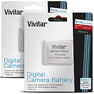 (2 Pack) Vivitar NB-6L / NB-6LH Batteries for Select Canon PowerShot Cameras