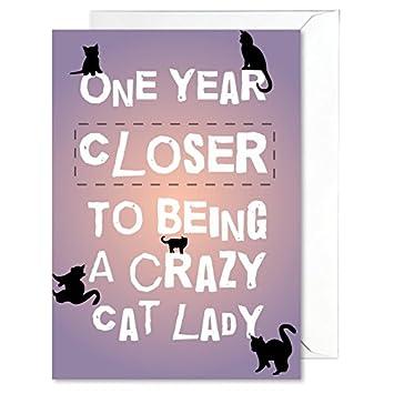 Tarjeta de cumpleaños chistosa señora loca del gato grande brillante A5 con sobre chistosos saludos: Amazon.es: Oficina y papelería