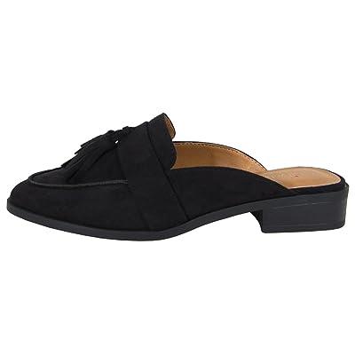 City Classified Women's Slip-On Tassel Block Heel Backless Mule | Mules & Clogs