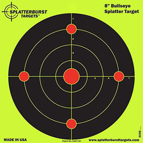 Splatterburst Targets 8 inch Bullseye Reactive Shooting Target - Shots Burst Bright Fluorescent Yellow Upon Impact - Gun - Rifle - Pistol - AirSoft - BB Gun - Pellet Gun - Air Rifle (50 pack)