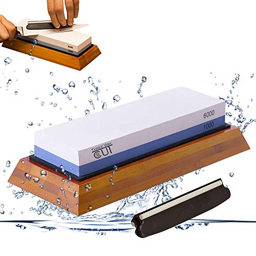 (Premium Knife Sharpening Stone kit 2 Side Whetstone Set 1000/6000 Grit Sharpening & Honing Waterstone Best Sharpener for Chefs & Kitchen Knife Anti-slip Stone Holder Base & Angle Guider Free Bonus)