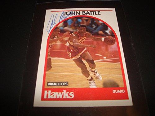 1989 NBA HOOPS #154 JOHN BATTLE HAWKS Rutgers SIGNED AUTHENTIC AUTOGRAPH