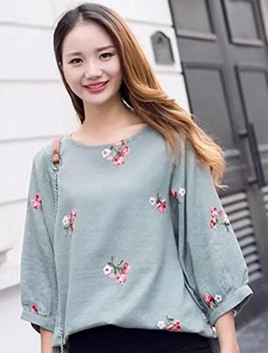 Shirt Top Classique Casual T Floral Clair Haut Style3 Femme vert MatchLife wEF0XX