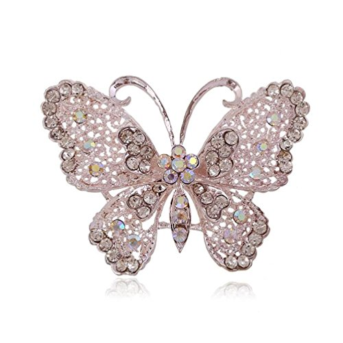 Botrong Fashion Openwork Hollow Women Diamond Butterfly Brooch Corsage Jewelry (Eye White Pearl Cats)