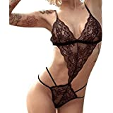 Clearance!! FDelinK Women Sexy Halter Babydoll Teddy Strappy Lace Lingerie Bodysuits