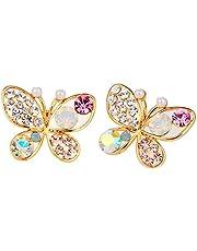 Jojckmen ladies Temperament Hollow Imitation Pearl Butterfly Diamond Stud Earrings
