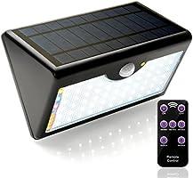 EcoSolarGLB Lámpara Solar 60 LED Luz Solar 1300 LM Focos Solares con Control Remoto y Sensor de Seguridad por Movimiento Inalámbricas para Exterior Jardín Patio y Terrazas
