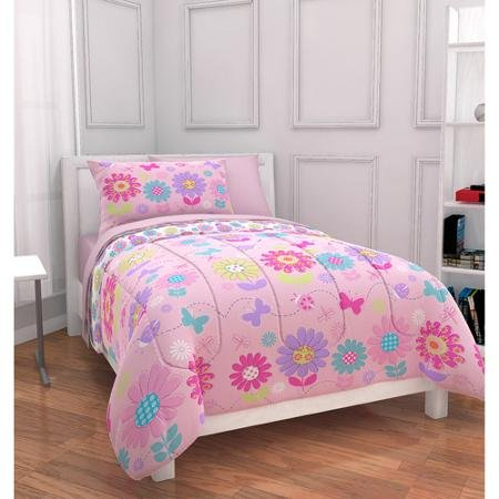 - Mainstays Kids Daisy Floral Bed in a Bag Bedding Set