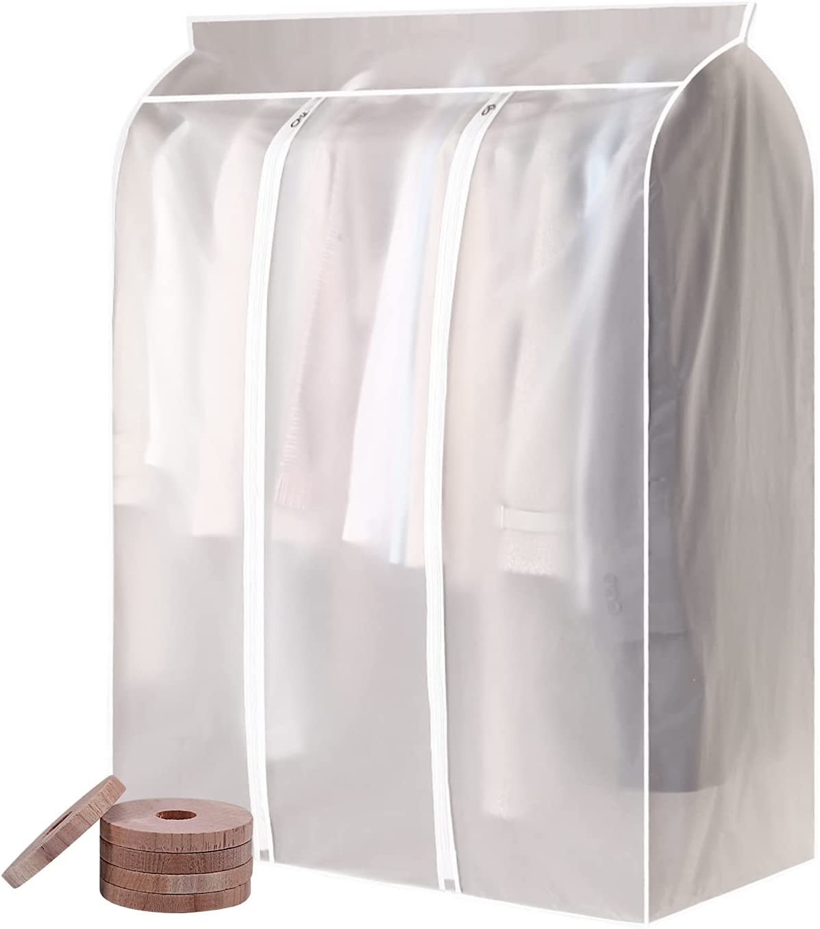 50'' Extra Large Translucent Frosted Garment Rack Cove, Garment Bags for Closet Storage Clothes Dust Cover, Seal Closets to Protect Clothing, Hanging Shirts, Coats, Dresses, Suits, 5 Cedar Wood Chips