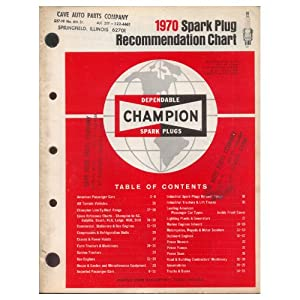Original 1970 Champion Spark Plug Recommendation Chart