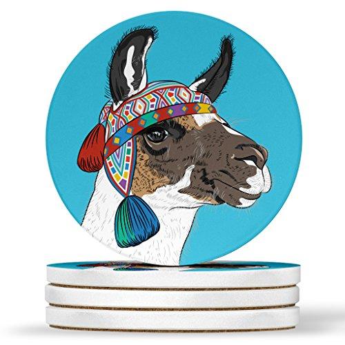 AK Wall Art Llama Colorful Design - Round Coasters, Natural Sandstone - Set of 4