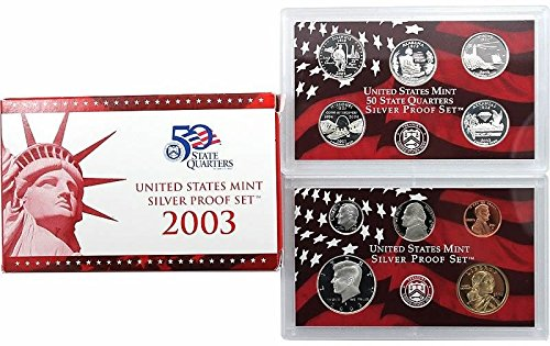 (2003 S US Proof Set 10-Coin Silver Proof Set Mint State State Quarters Proof Set Proof US Mint)