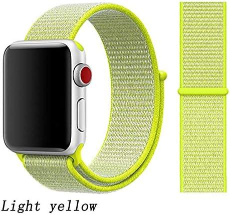 JWJY ユニバーサル・ウォッチバンド44ミリメートル40ミリメートル42ミリメートル38ミリメートルのナイロンブレスレット時計バンド44/42 (Band Color : Light yellow, Band Width : 42mm or 44mm)