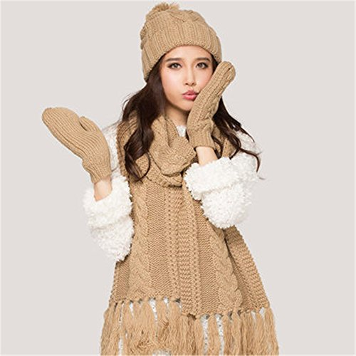 high end knitted cashmere winter scarf hat glove for women three-piece 2015 autumn winter Hats scarves gloves three-piece fitted Beige (3 Piece Winter Gloves)