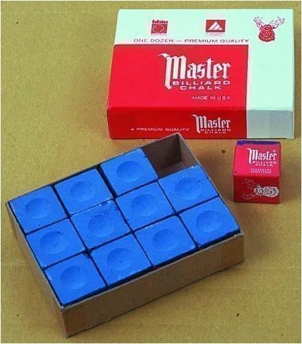 Original USA Billardkreide Master, 12 Stück im Karton (blau/grün/rot/grau)