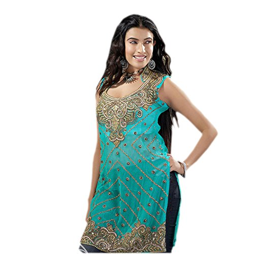 Attractive Blue Georgette Tunic Full Stone Embroidered Party dress (xl) by Jayayamala