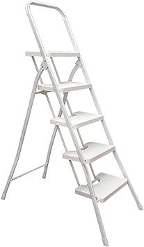 Escalera plegable Escalera de cuatro escalones blanca, escalera de cinco pasos plegable Escalera multifunción portátil Escalera de la sala de estar Multifuncional (Tamaño : 52 * 9 * 157CM): Amazon.es: Bricolaje y herramientas