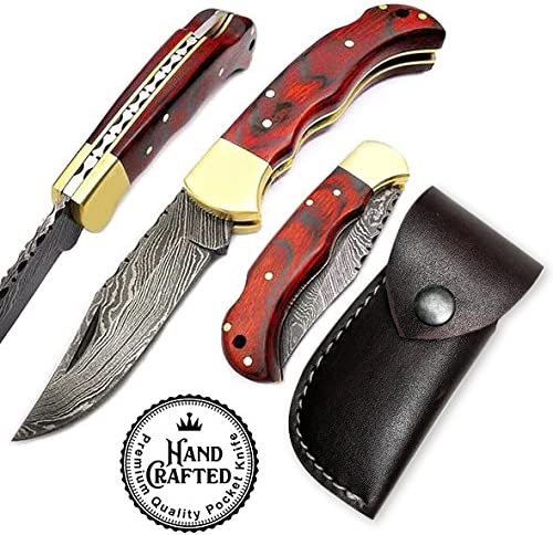 Damascus Pocket Knife, Folding Pocket Knife 6.5 Length Handmade Steel Brass Bolster Back Lock Tactical Knife Stainless Steel Camel Bone Wood Handle Flip Knife – Hunting, Fishing, Outdoors, Tactical