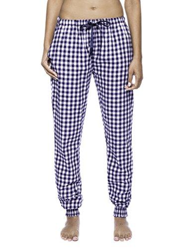 Women's Premium Flannel Jogger Lounge Pants - Gingham Blue/Heather - Large