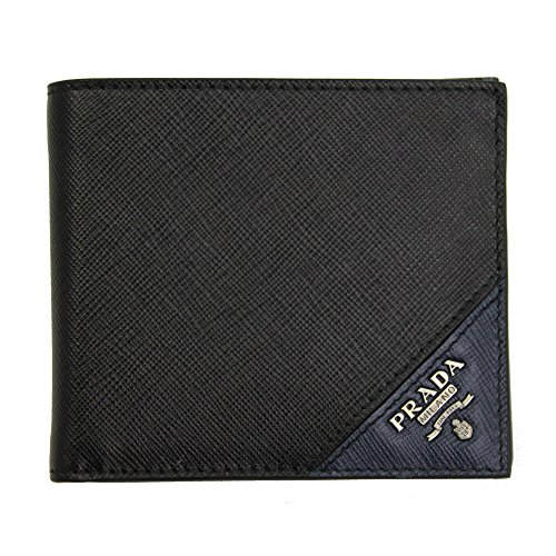 Prada Men's Saffiano Leather Bi-fold Wallet 2MO513 Nero+Baltico