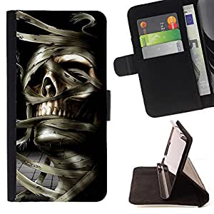 DEVIL CASE - FOR HTC DESIRE 816 - Skull Mummy Egypt Pharaoh Black White - Style PU Leather Case Wallet Flip Stand Flap Closure Cover