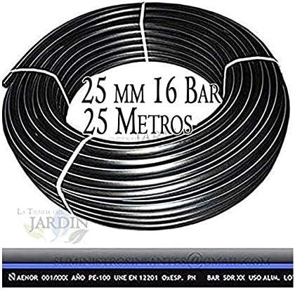 Color negro Presi/ón m/áxima 16 BAR TUBERIA 25MM de Polietileno ALIMENTARIA alta densidad Tuberia con Certificado AENOR apta uso agua potable. M/áxima calidad Rollo 25 METROS