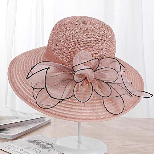URNGLB Large Wide Brim Organza Flower Sun Ladies Kentucky Derby Wedding Party Dress Floppy Summer Hats for Women 3