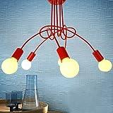 LightInTheBox Chandelier, 5 Light, Modern Characteristic Metal PaintingHome Ceiling Light Fixture Flush Mount, Pendant Light Chandeliers Lighting,Home Color=Red;Voltage=110-120V