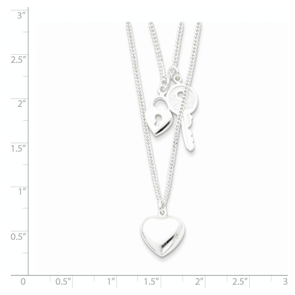 Sterling Silver Double Heart /& Key Necklace