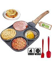 4 Egg Frying Pan, Egg Pan Nonstick Mini Burger Cooker 4 Hole Fried Egg Burger Pan For Breakfast, Aluminum Alloy