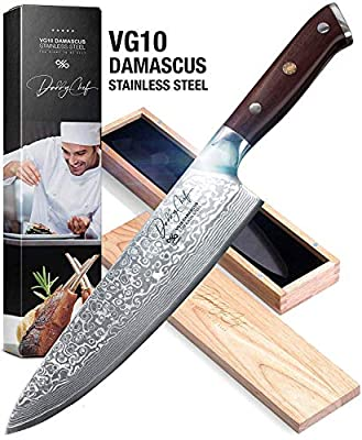 Daddy Chef Damascus Chef Knife - 8 inch Blade from Japanese VG10 67 Layer Stainless Steel - Professional and home kitchen chefs chopping carving knife - Forged Carbon - Ergonomic G10 Handle Knives from Daddy chef